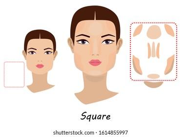 Contour and makeup highlights. Contour shape of the square face make-up. Fashion Illustration. Flat design.