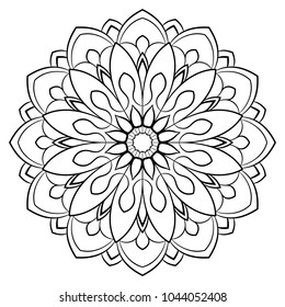 Contour mandala for color book. Monochrome illustration. Symmetrical pattern in a circle. A beautiful image for scrapbook. The template for printing on fabric. Picture for relaxation. Raster template.