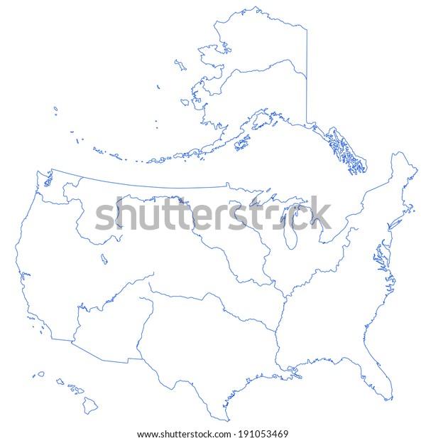 Contour Map United States Major Rivers Stock Illustration ...