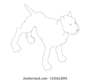 The contour of a muscular dog. The dog is ready. View isometric.