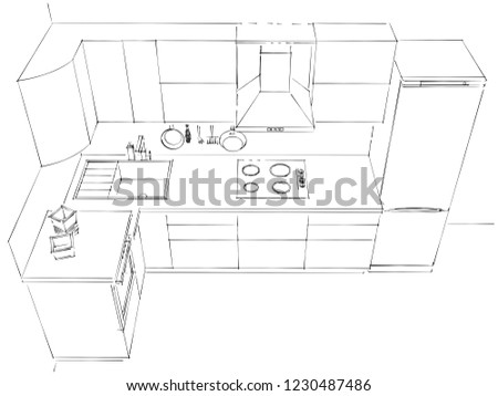Contour Sketch 3 D Drawing Modern Lshaped Stock Illustration