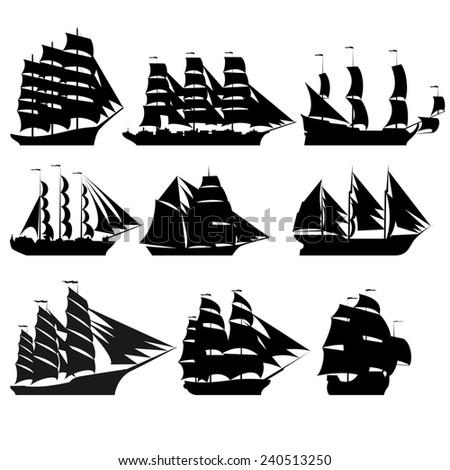 contours old sailing ships blackandwhite illustration stock