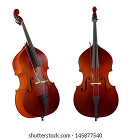 Contrabass, double bass. Classical music instrument isolated. Two angles of view