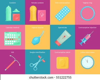 Contraception methods cartoon icons set with calendar injection and oral contraception symbols. Birth control  illustration.