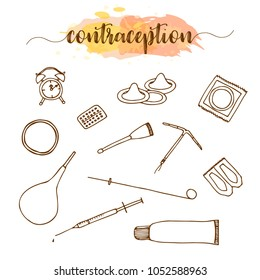 Contraception methods hand drawn set. Birth control illustration.