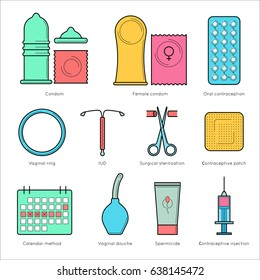 Contraceptive flat line  icons. Planning pregnancy and birth control. Contraception methods - condom, oral contraception and patch, vaginal spiral and ring, spermicide, surgical sterilization