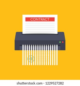 Contract failure agreement cancelation broken paper shredder company business no deal.  stock illustration.
