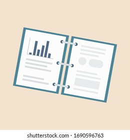 Contract papers. Document. Folder with stamp and text. Stack of agreements document