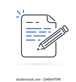 Contract terms and conditions. Document paper and creative writing or storytelling, business brief text, write summary for assignment line icon thin stroke illustration.