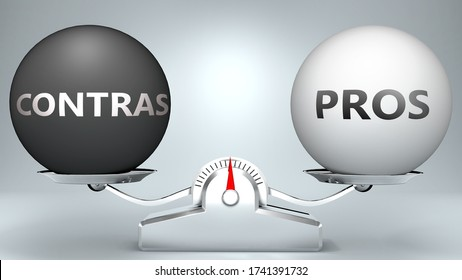 Contras and pros in balance - pictured as a scale and words Contras, pros - to symbolize desired harmony between Contras and pros in life, 3d illustration