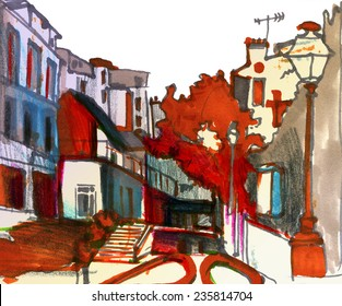 Contrast bright marker sketch of a street in european urban city with old street