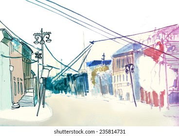 Contrast bright marker sketch of a street in european urban city with old street, frontal view with cables and post columns