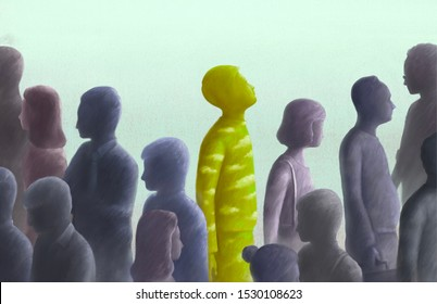 Contrast, different, outstanding, freedom, unique concept surreal illustration, Green human looking at the sky in group of gray people