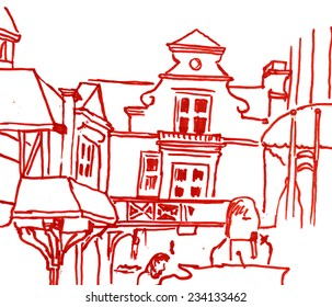Contrast liner marker sketch of a street of baltic small town