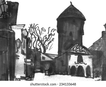 Contrast marker sketch of a street of baltic small town