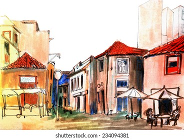 Contrast marker sketch of a street view