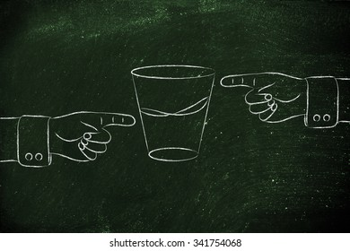 contrasting point of views: hands pointing at glass to show its half full and half empty sides