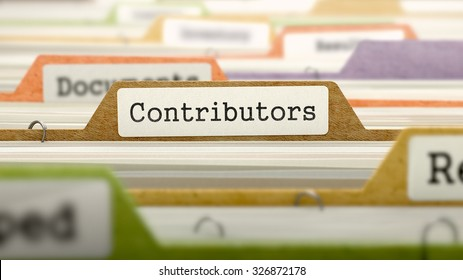 Contributors on Business Folder in Multicolor Card Index. Closeup View. Blurred Image.