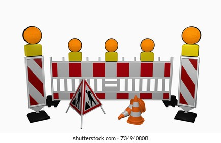 Control baton with safety shut-off, warning light, traffic cone and set-up for a construction site. 3d rendering