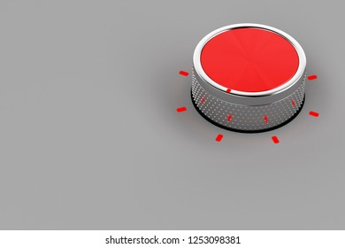 Control knob for variety of devices on grey background, 3D illustration