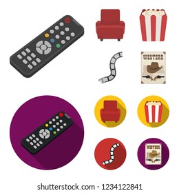 Control panel, an armchair for viewing, popcorn.Films and movies set collection icons in cartoon,flat style bitmap symbol stock illustration web.