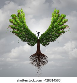 Control your life opportunity concept as a person taking charge and controlling a tree with wings flying to a goal for success as a psychology symbol for positive thinking in a 3D illustration style.