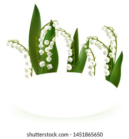 Convallaria majalis - Lilly of the valley. Hand drawn vector illustration of a bouquet. Spring Flower. Happy Mother's Day Template. Greeting card.