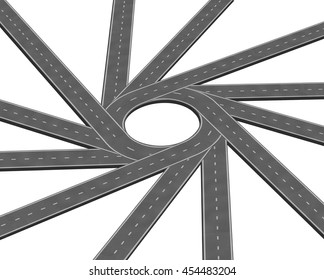 Converging road or highway business metaphor representing the concept of a concentrating multiple paths to focus together as a concept of unity in a 3D illustration style isolated on a white.