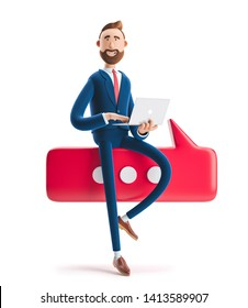 Conversation concept.Portrait of a handsome businessman with laptop and bubble talk. 3d illustration