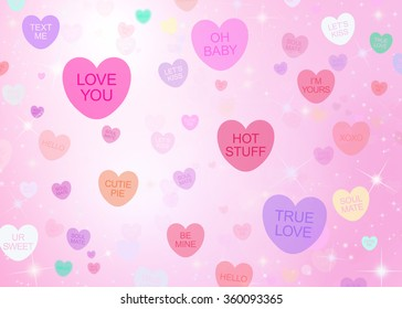 Conversation Hearts Background with Sparkles