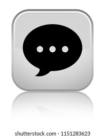 Conversation icon isolated on special white square button reflected abstract illustration