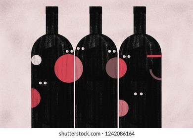 Conversations animated around wine to socialize at Christmas. Minimalist illustration shows chattering wine bottles socializing among them with faces and expressions. Red, pink, black.