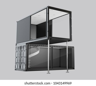 Converted old shipping container, 3d Illustration isolated gray.