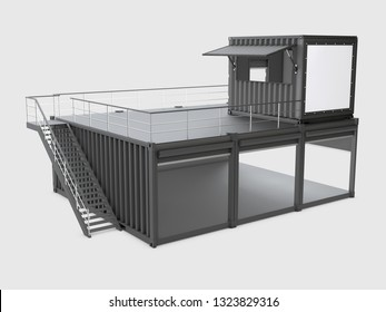 Converted old shipping container, 3d Illustration isolated gray