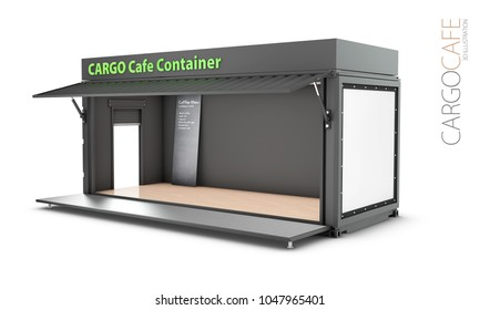 Converted old shipping container into cafe, 3d Illustration isolated white