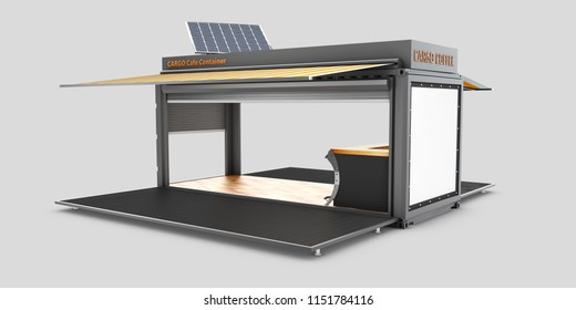 Converted old shipping container into cafe, 3d Illustration isolated white.