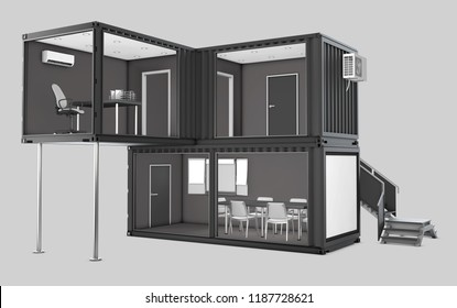 Converted old shipping container into office, 3d Illustration isolated gray