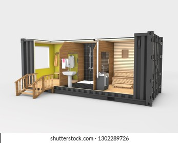 Converted old shipping container into sauna, 3d Illustration isolated gray