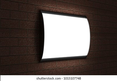Convex LED light box Single Sided Poster display or  Sign Holder Curved Black Frame for  Theater Bills or Ads on the brick wall. 3d render illustration.