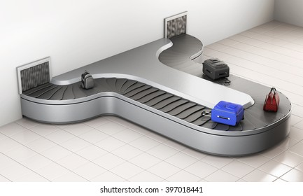 Conveyer belt with luggage. Baggage claim. 3d rendering.