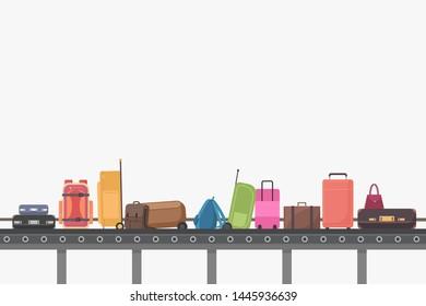 Conveyor belt in airport baggage hall. Baggage claim illustration.