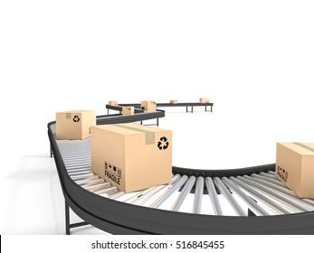 conveyor belt line with boxes 3d rendering