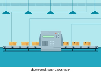 Conveyor belt with robotic arm. Package line. Clipart illustration