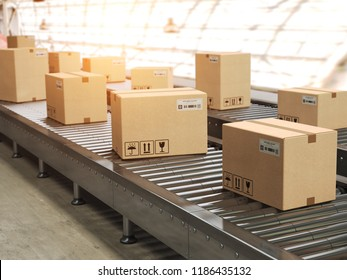 Conveyor line with cadrboard boxes on it in distribution warehouse, Delivery, storage and transportation service concept. 3d illustration