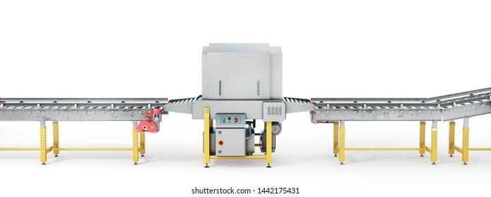 Conveyor line on a white background. 3d illustration