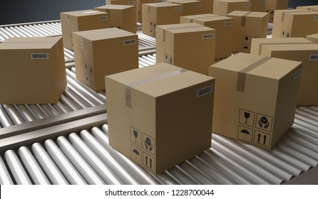 Conveyor with many cardboard boxes. Package delivery concept. 3D rendered illustration.