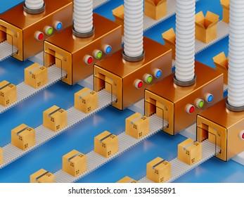 Conveyor packaging belt. Industrial factory shipment cargo business concept. 3d rendering illustration