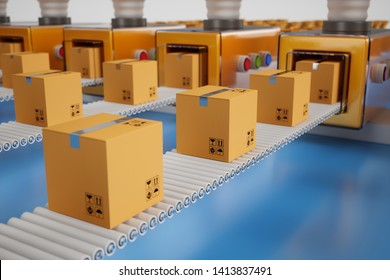Conveyor packaging belt. Industrial factory shipment cargo mail business concept. 3d rendering illustration