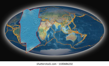Conway Reef tectonic plate extruded and presented against the global topographic map in the Mollweide projection