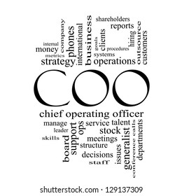 COO Word Cloud Concept in black and white with great terms such as chief, operating, officer, goals and more.
